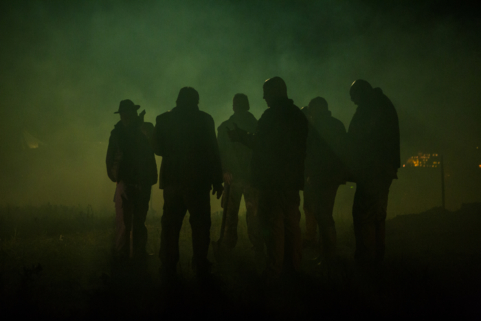 silhouettes on set